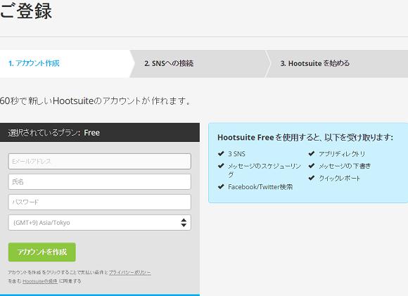 アカウントの作成Hootsuite